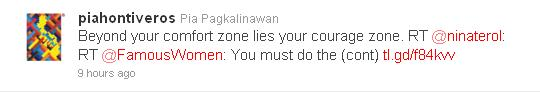 A tweet from one of my favorite broadcast journalists and talk show hosts, Pia Hontiveros-Pagkalinawan