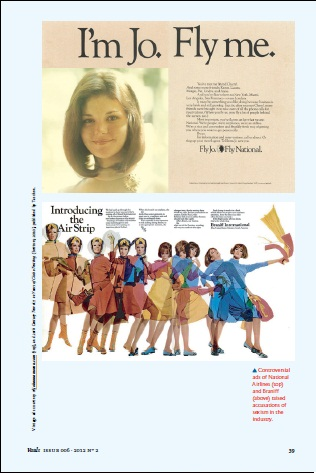 VAULT Magazine, June 2012 issue, p. 59: Samples of some risque airline advertising materials (Courtesy of VAULT Magazine)