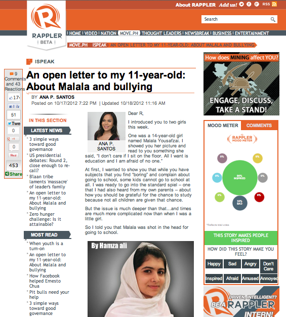 """Ana Santos writes: """"An open letter to my 11-year-old about Malala and bullying"""" 