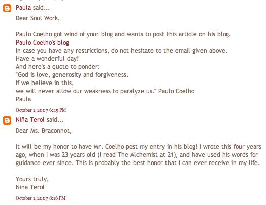 Paula Braconnot's comment on Soul Work (October 1, 2007)