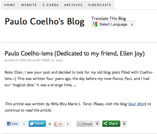 The post as written in Paulo Coelho's blog, October 16, 2007