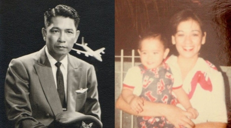 My grandfather as an airline pilot, and my mother as a flight attendant a generation later. (That's li'l old me in the middle!)
