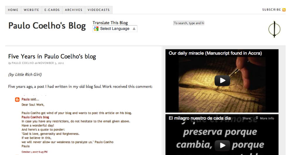 Little Rich Girl in Paulo Coelho's Blog
