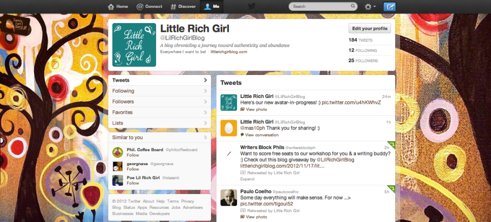 Little Rich Girl is now on Twitter! Follow her at @LilRichGirlBlog