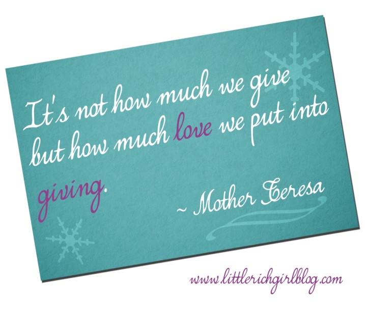 It's not how much you give | Design and layout by Niña Terol-Zialcita | Little Rich Girl